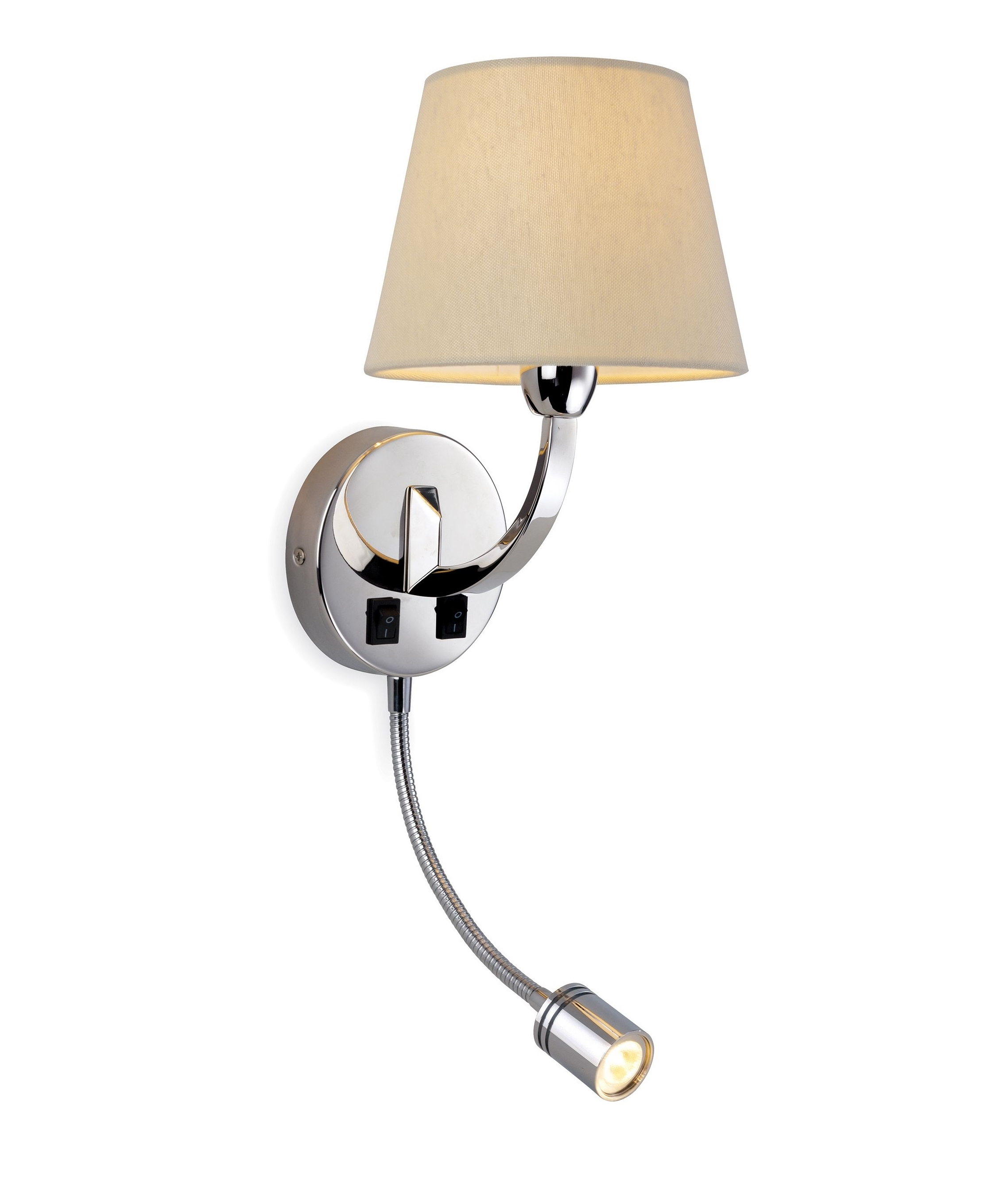 Wall Lights Adjustable : Chrome Wall Light with Adjustable LED Arm