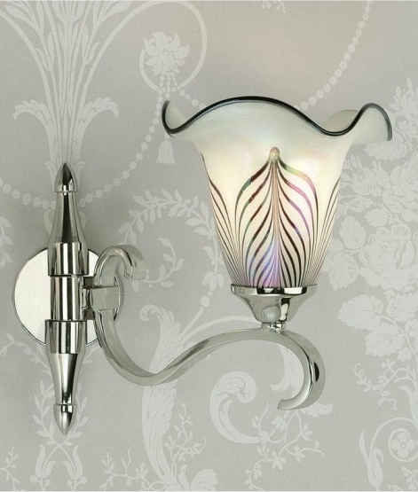 Feathered Glass Art Nouveau Wall Light