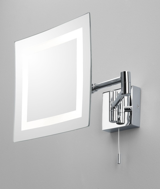 Complete with Pullcord Measuring 200mm Bathroom Vanity Mirror  Chrome Halogen Square