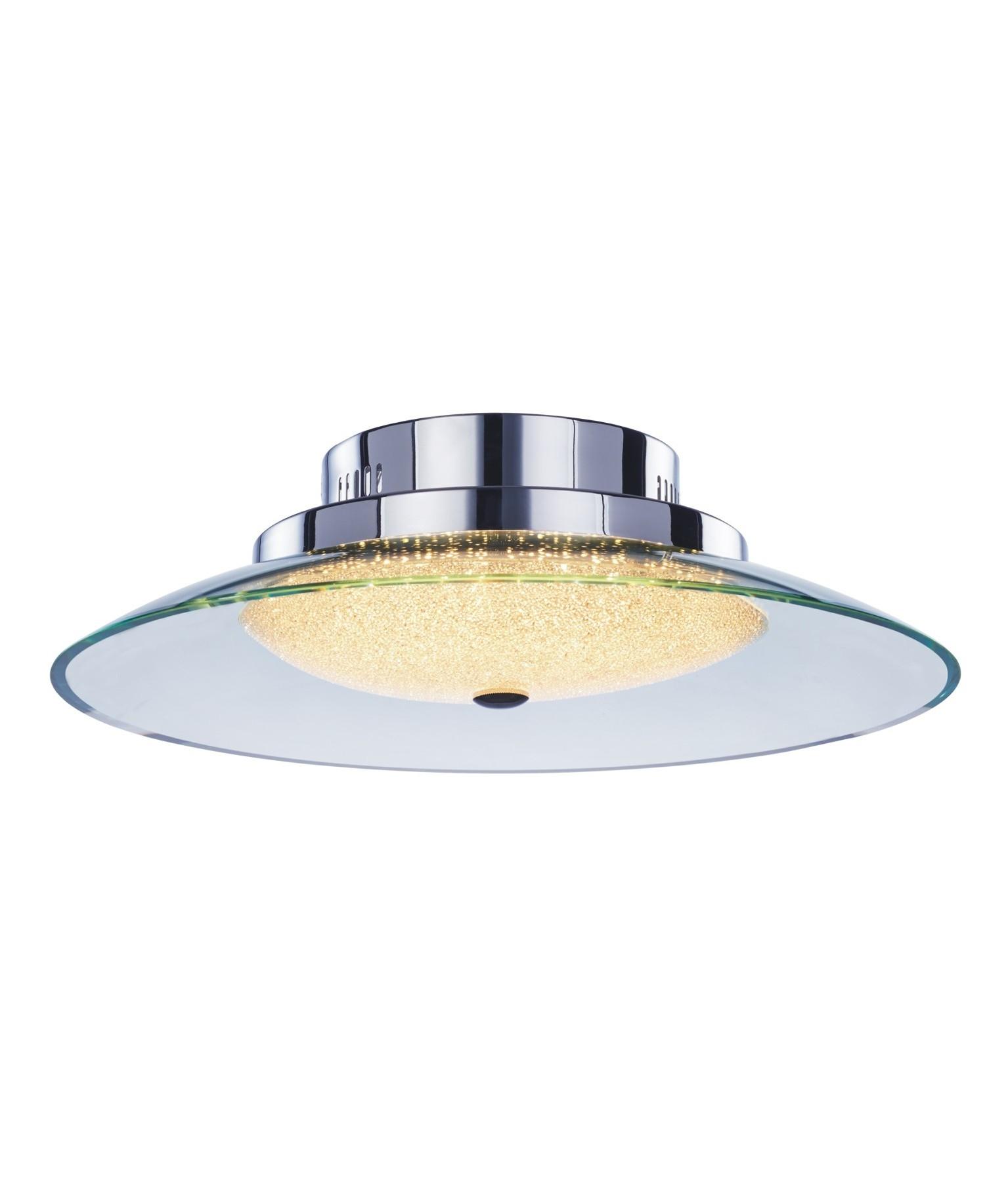 Led Ip44 Flush Glass Chrome Ceiling Light