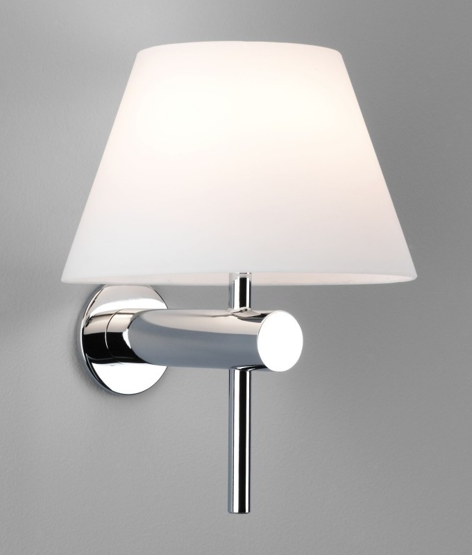 Bathroom Safe Wall Light With Glass Coolie Shade - Bathroom wall sconce with shade