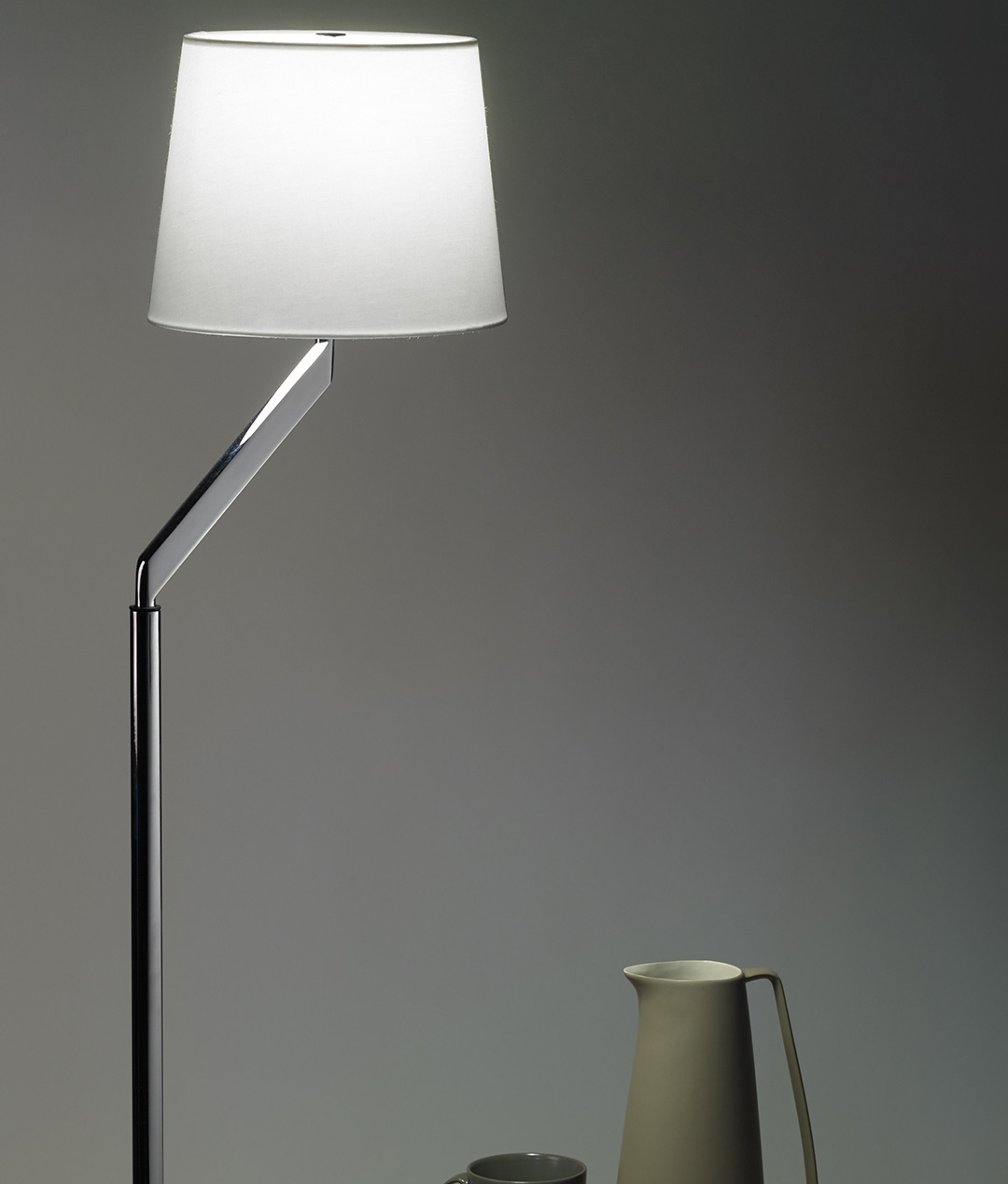 Chrome white shade adjustable floor lamp for Off set floor lamp