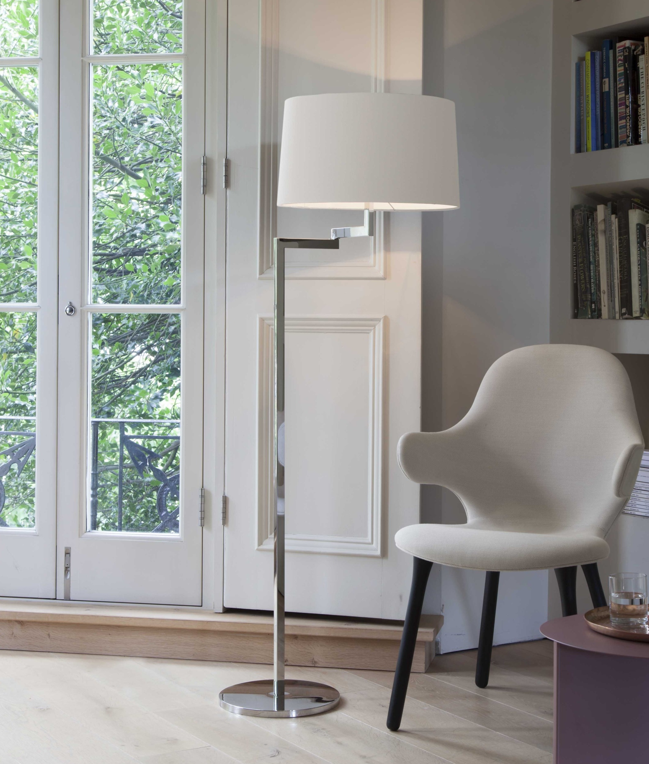 Swing Arm Floor Lamp With Choice Of Fabric Shades
