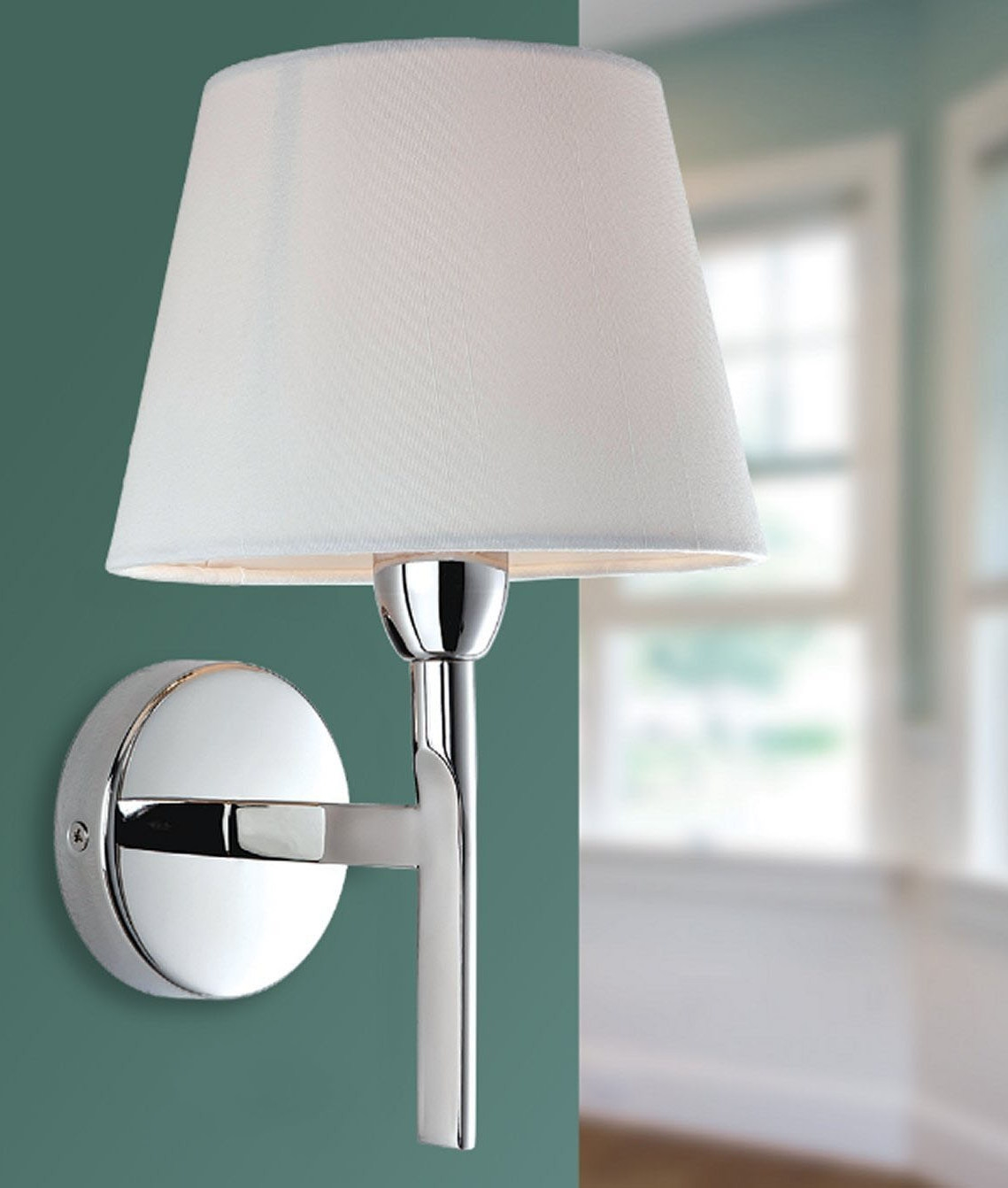 Cream Wall Lamp Shades : Chrome Arm Wall Light with Choice of Shade Finish