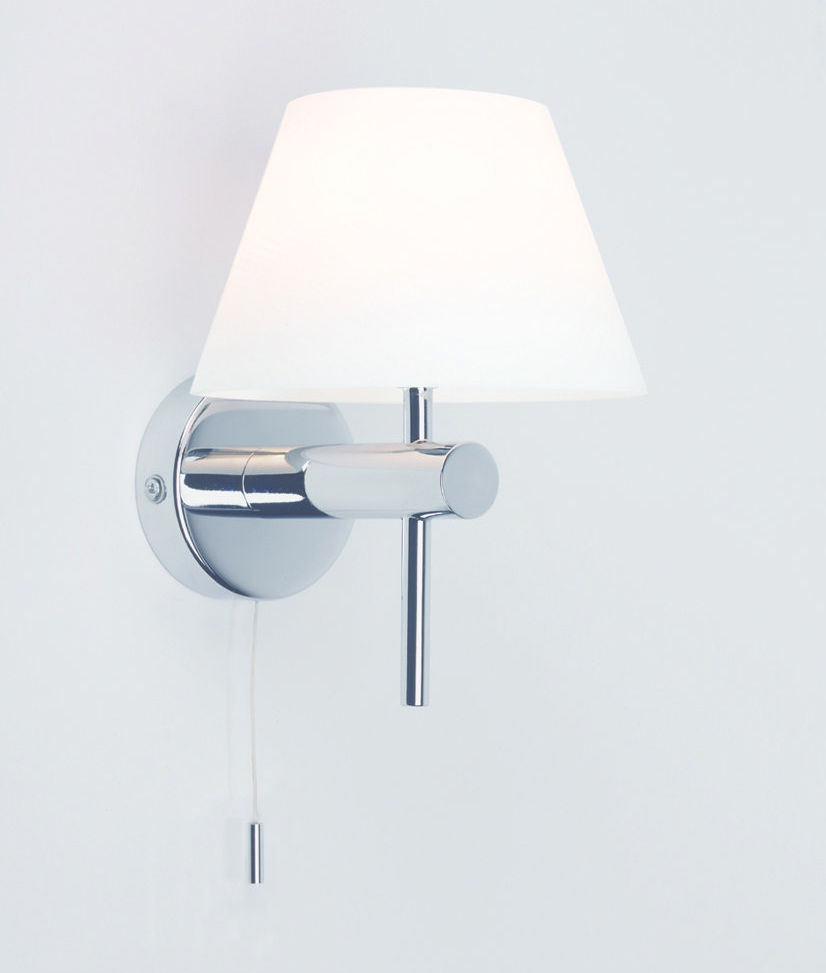 Nice Bedroom Wall Lights With Pull Cord Part - 1: Bathroom Safe Wall Light With Glass Shade And Pullcord .