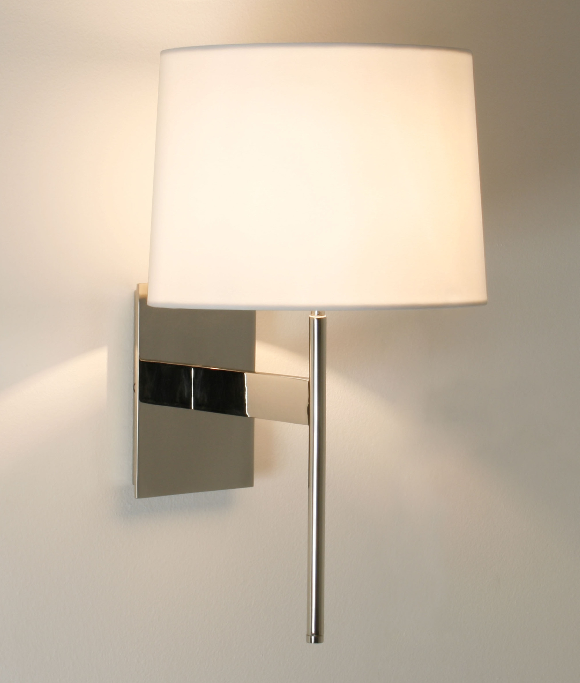 Wall Light Lamp Shades Fabric : Elegant wall light with fabric shade is available in three finishes