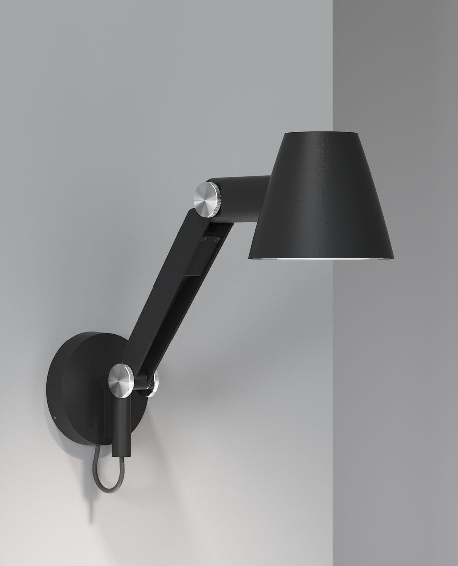 Balance Arm Adjustable Bedside Wall Light Chunky Metal