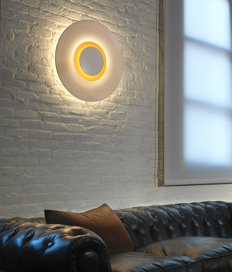 LED Circular Wall Light With Gold Interior