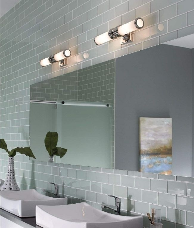Wide chrome ip44 bathroom light for Bathroom lights above mirror