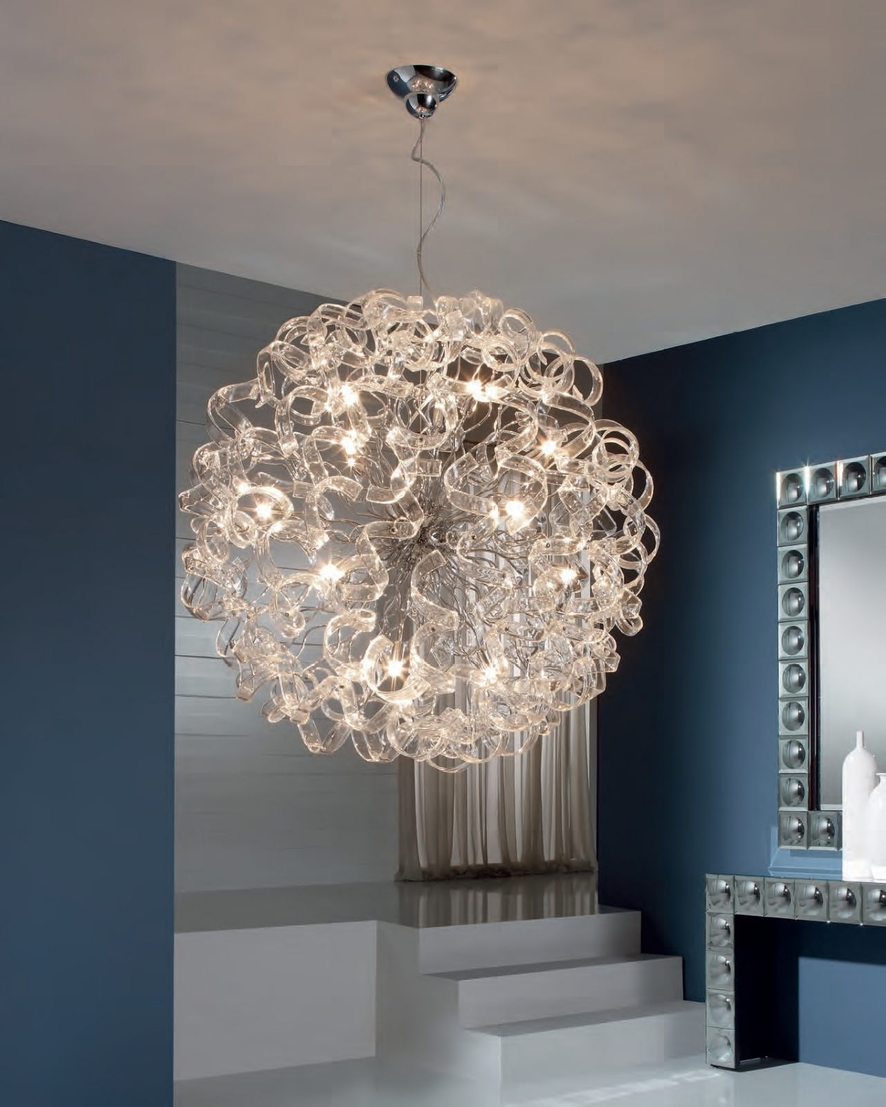 ball pendant light with curly ribbons of glass medium or large. Black Bedroom Furniture Sets. Home Design Ideas