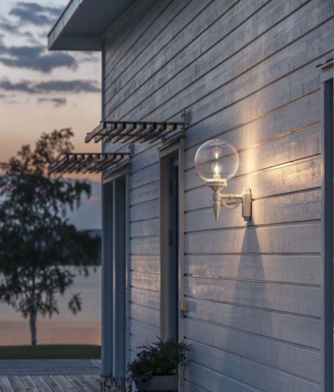Clear Glass Globe Outdoor Wall Light Ip23