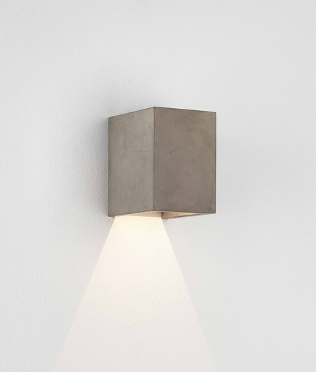 Cube wall fixed downlight with led lamp in concrete concrete cube wall fixed downlight led lamp coastal safe finish ip65 rated protected from water jets aloadofball Image collections