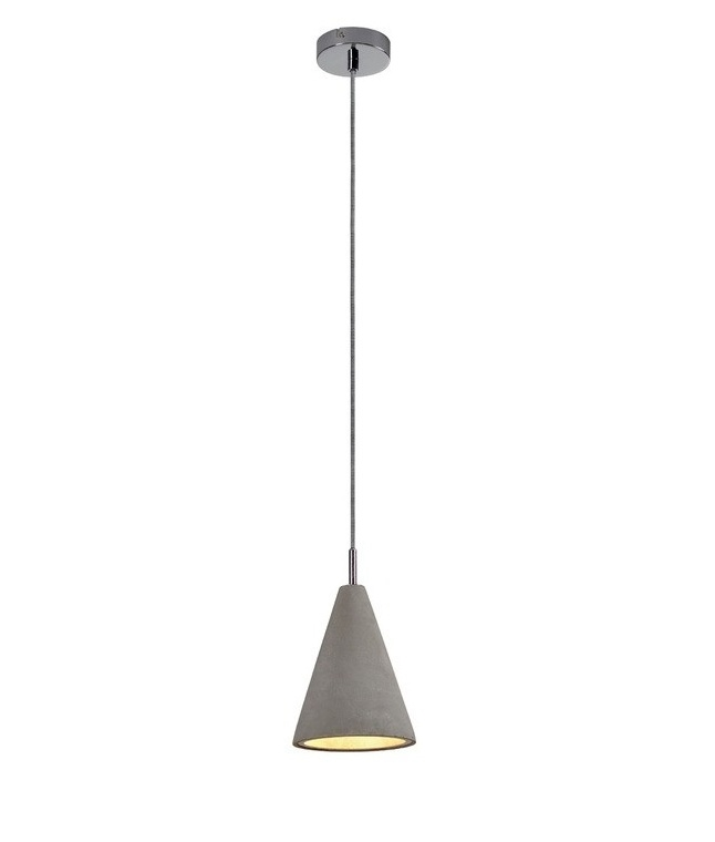 Concrete Single Elongated Pendant Light
