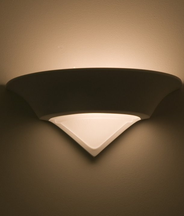 Wall Light Glass Panel : Conical Plaster Wall Light with Glass Panel