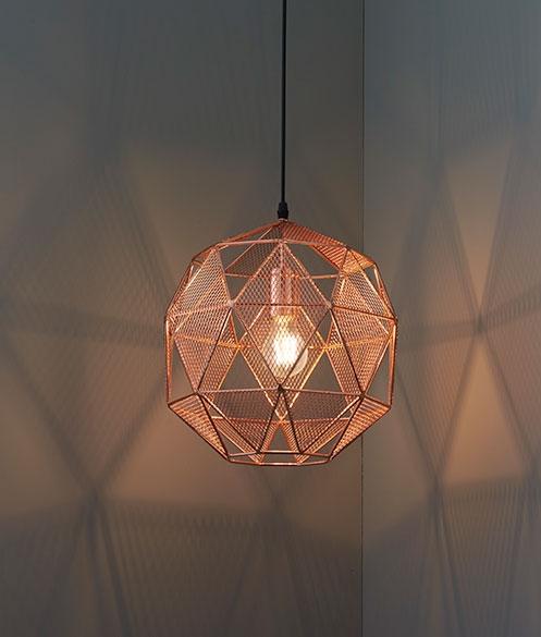 Mesh Geometric Pendant Copper Or Chrome, Copper Mesh Lamp Shade