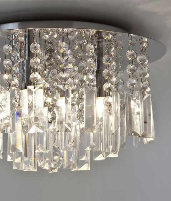 Crystal glass bathroom ceiling light ip44 rated round ceiling plate crystal droplets mozeypictures Gallery