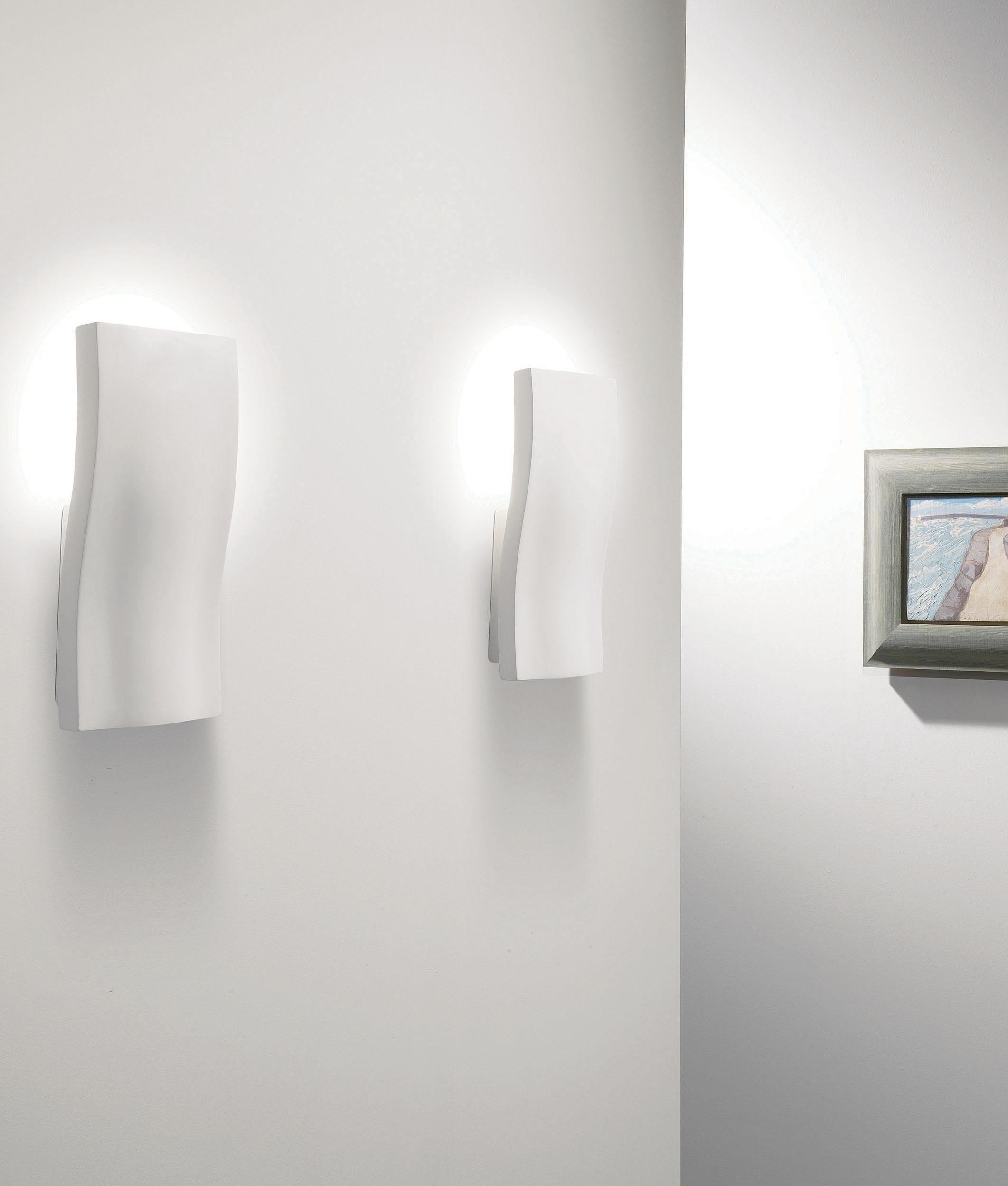 Wall Lights Plaster Finish : Plaster Wavy Wall Light Uplights the Wall in Natural Plaster Finish