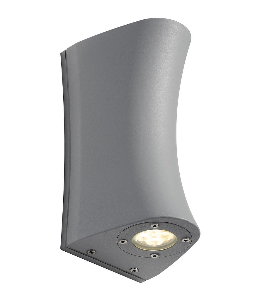 Silver grey led up down exterior wall light for Exterior up down wall light