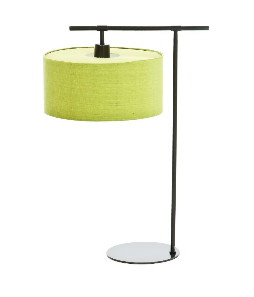 Dark brown table lamp with lime shade for Brown table lamp shades