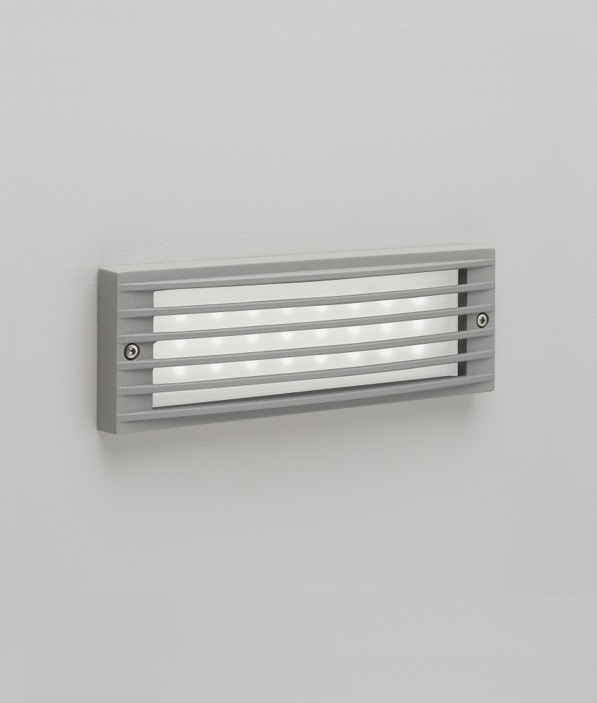 Outdoor Patio Brick Lights: Painted Silver LED Recessed Wall Light