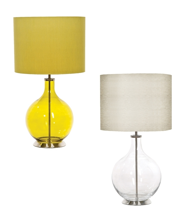 Teardrop Glass Table Lamp With Drum Shade