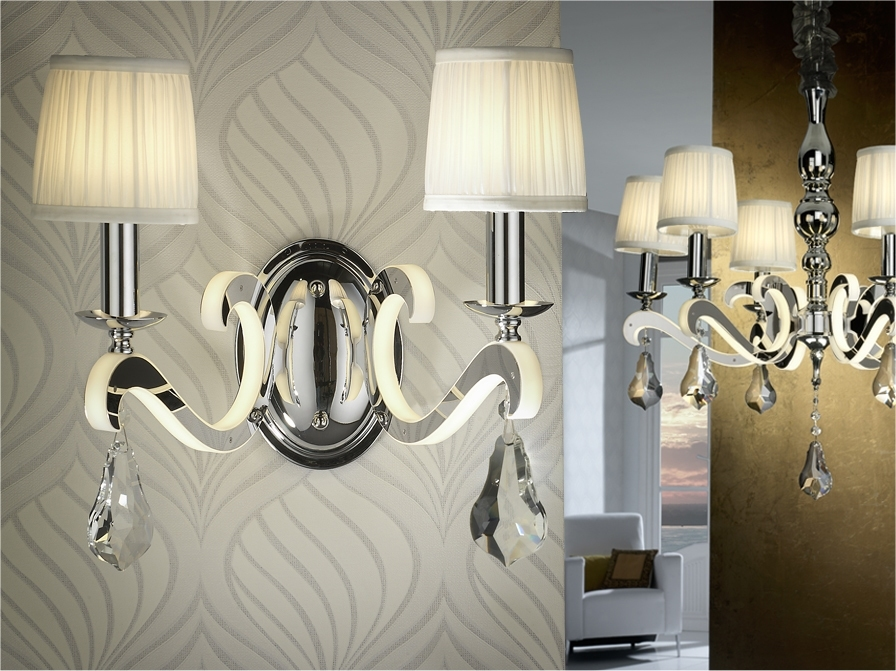 Reflective Chandelier with Pleated Shades & LED