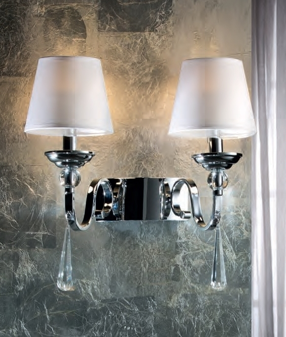 Led Wall Lamp Shades : Chrome & Crystal LED White Shade Wall Light
