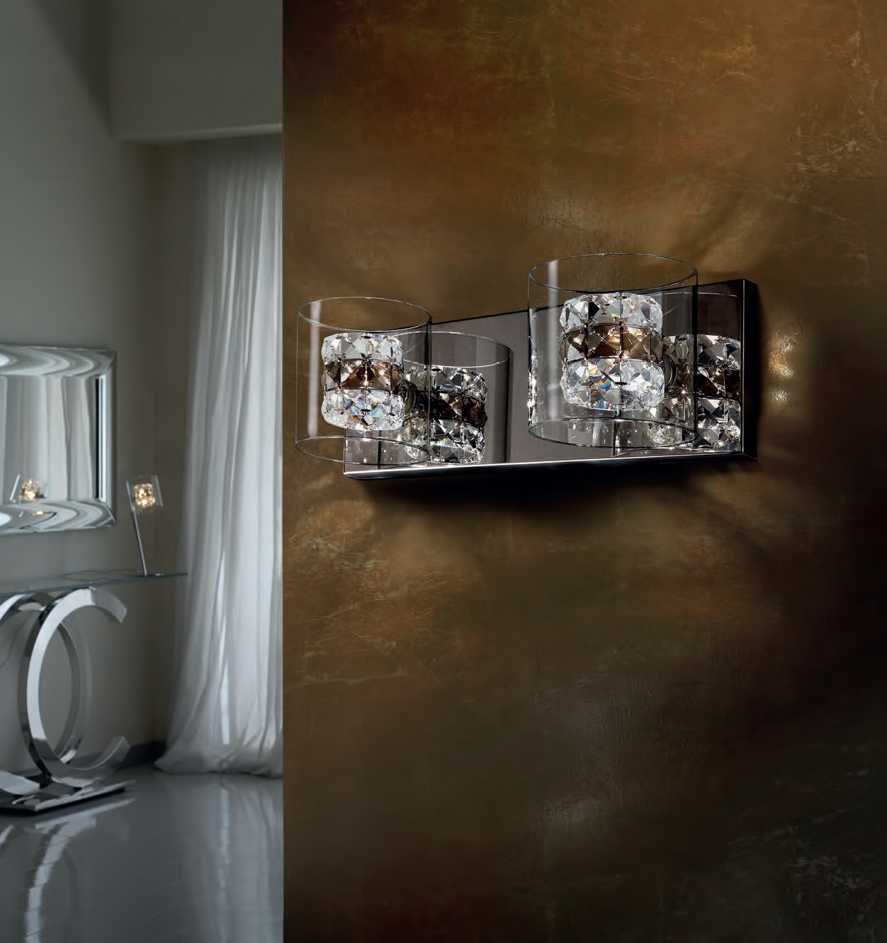 Flush Mounted Clear Glass & Crystal Chrome Wall Light