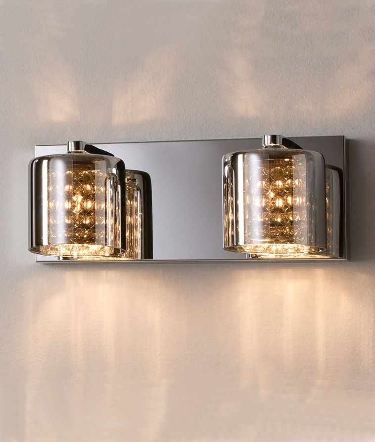 Smoked Glass Crystal Amp Chrome Wall Light