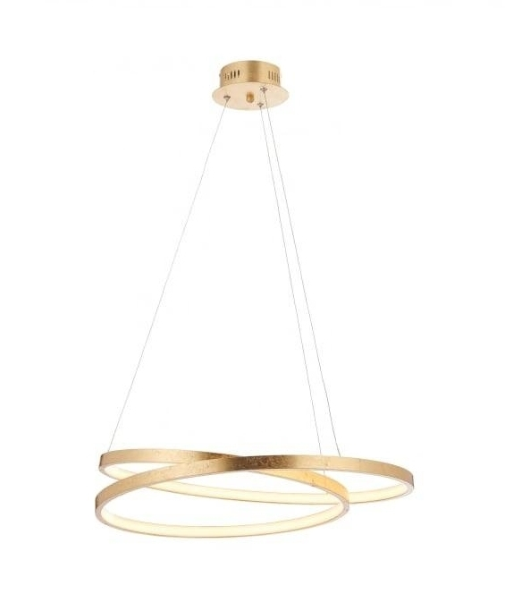 Double Ring Suspended Led Pendant With Gold Leaf