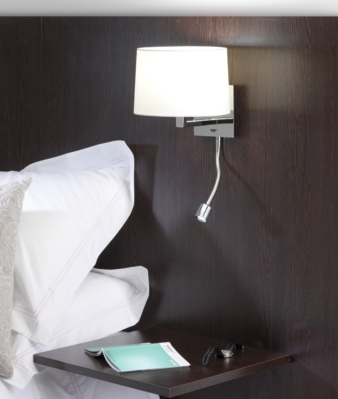 small polished nickel bedside light with led reading light
