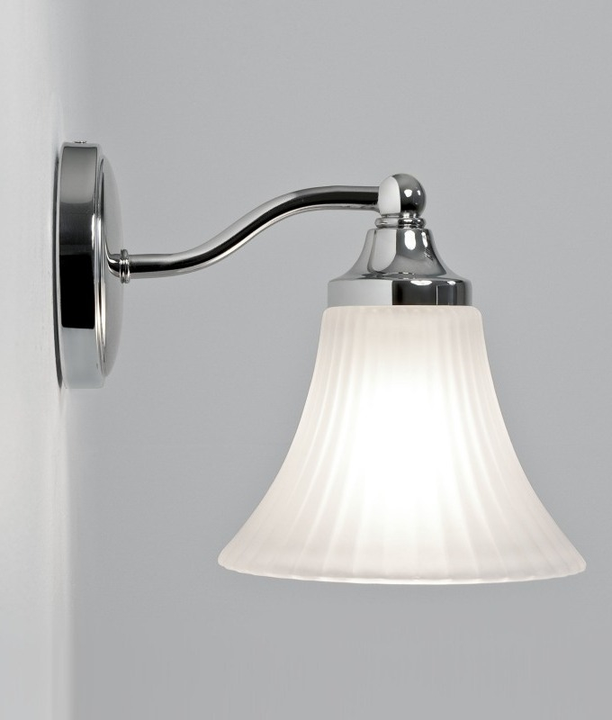 Bathroom Wall Light Fixtures Uk glass bathroom wall light with fluted acid etched shade ip44