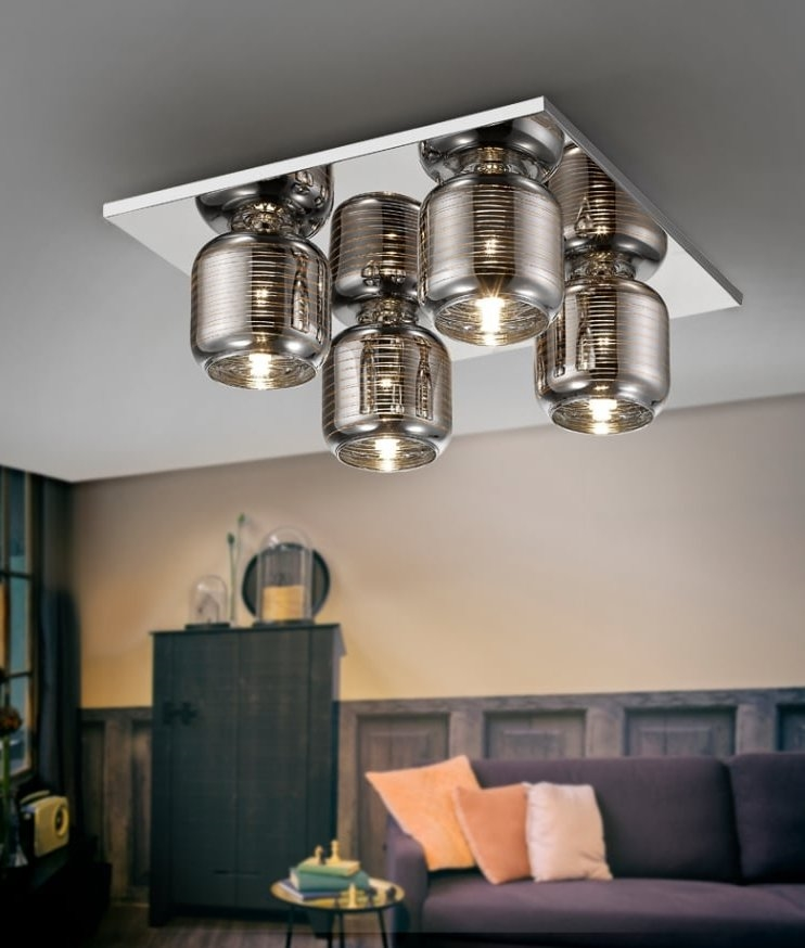 Square Flush Mounted 4 Light Fitting With Smoked Glass