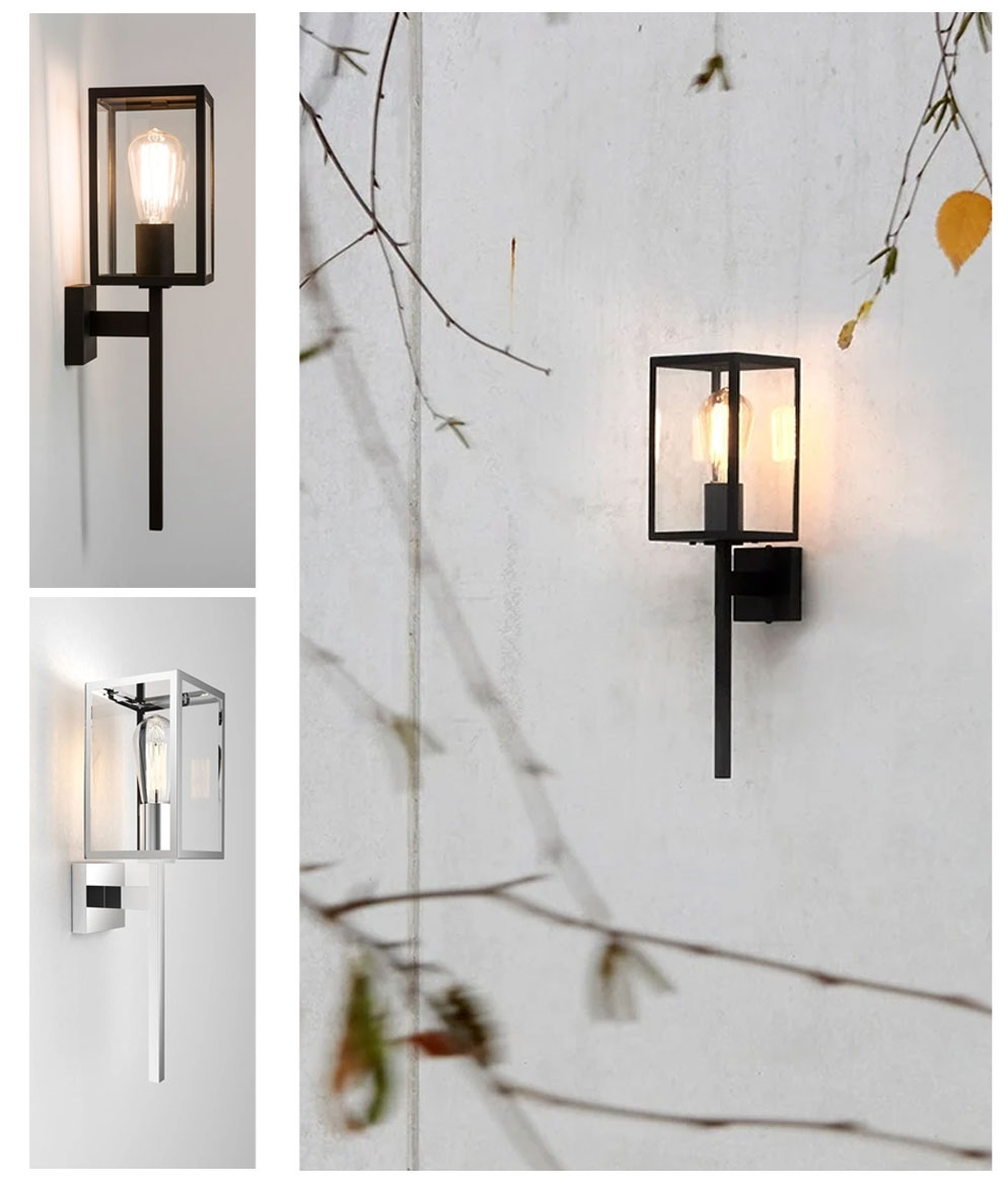 Contemporary Exterior Coach Lantern In Black Or Chrome Finish Height 505mm