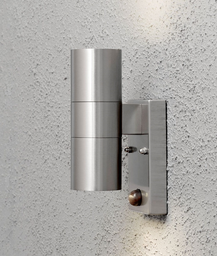 Up And Down Pir Motion Sensor Wall Light For Exterior Use