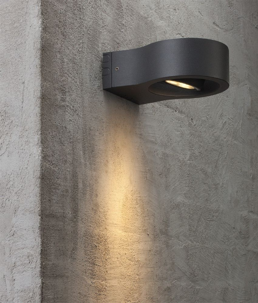 Black Round Exterior Wall Light With Adjustable Led Spot Light
