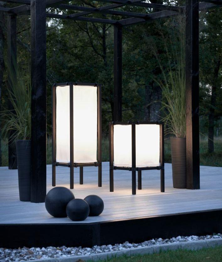 Japanese Inspired Black And White Outdoor Floor Light