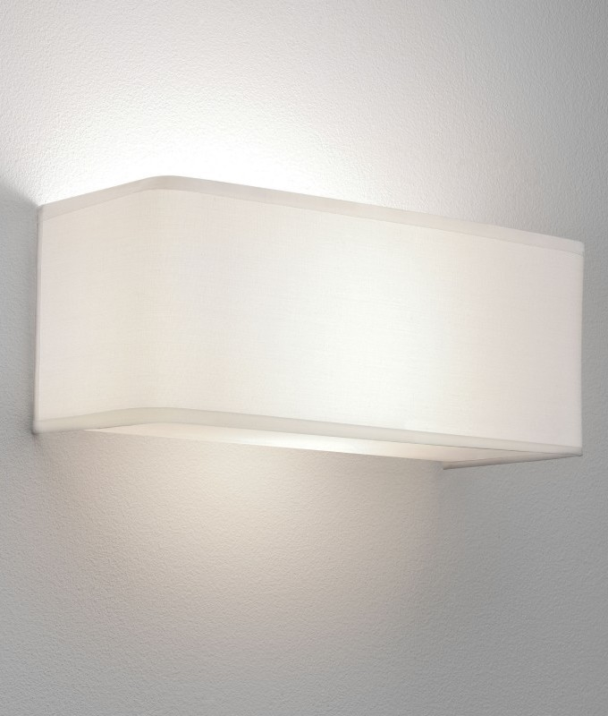 Simple Fabric Tall Wall Light: Simple White Fabric Wall Light In Two Designs. Low Glare