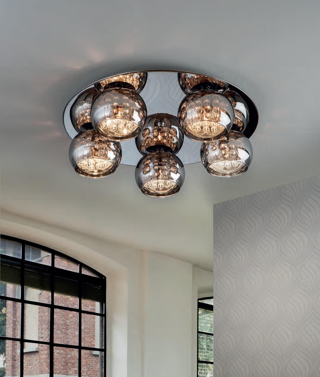flush led smoked glass pendant light