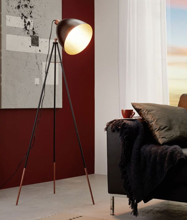 Vintage Tripod Floor Lamp Gold Black Finishes Available