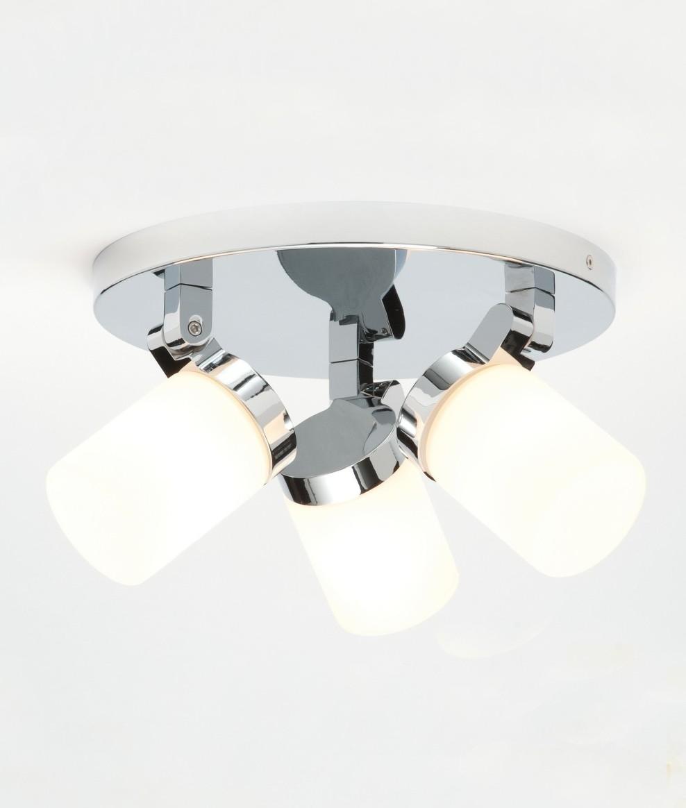 Round Bathroom Chrome 3 Light Spotlight Opal Glass