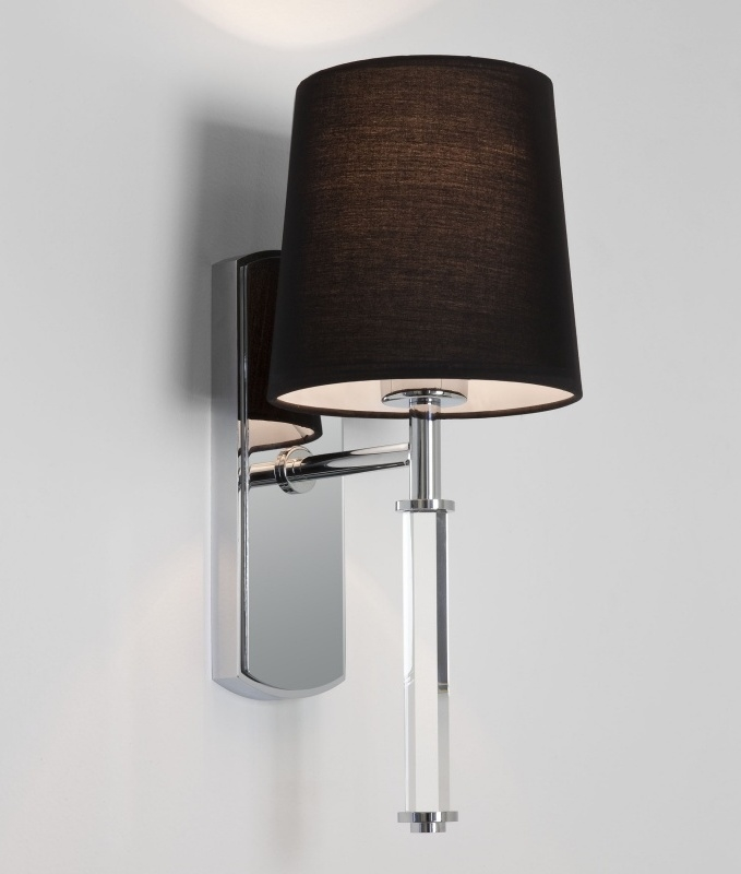 Single Arm Wall Light in Chrome with Glass Shade