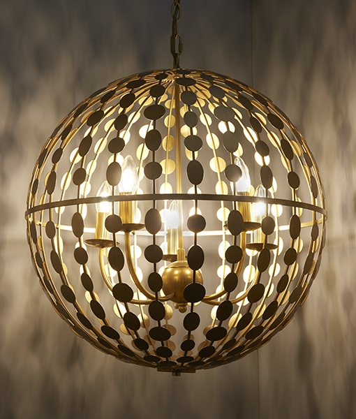 Gold Leaf Globe With Interior Chandelier Two Sizes