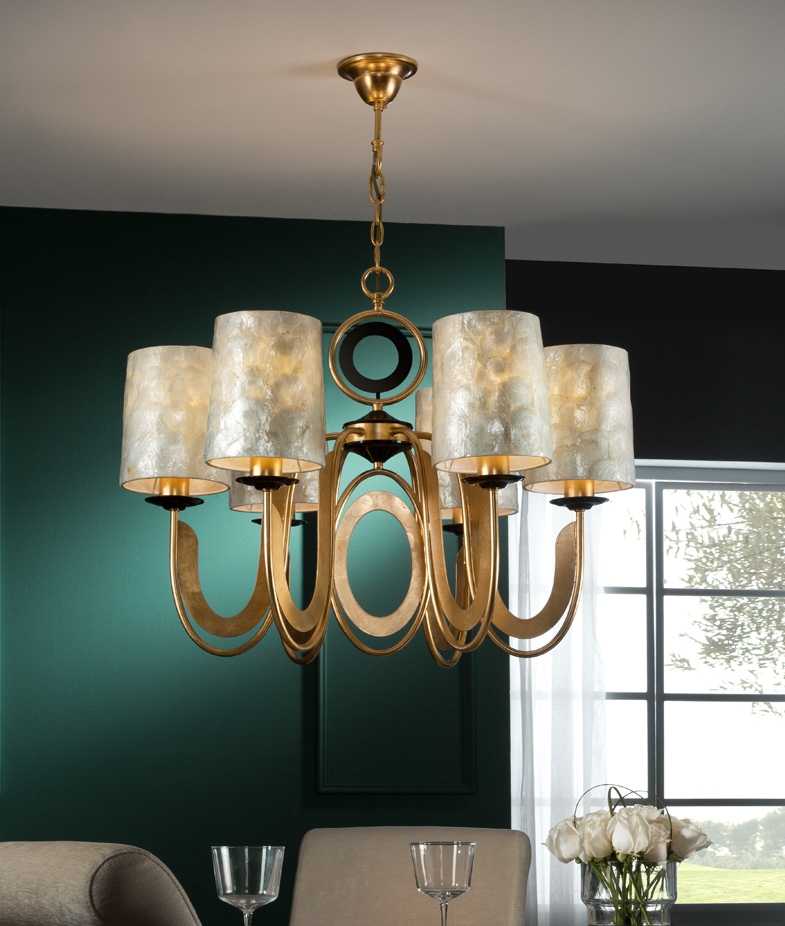 Chandelier With Mother Of Pearl Shades And A Gold Leaf Finish