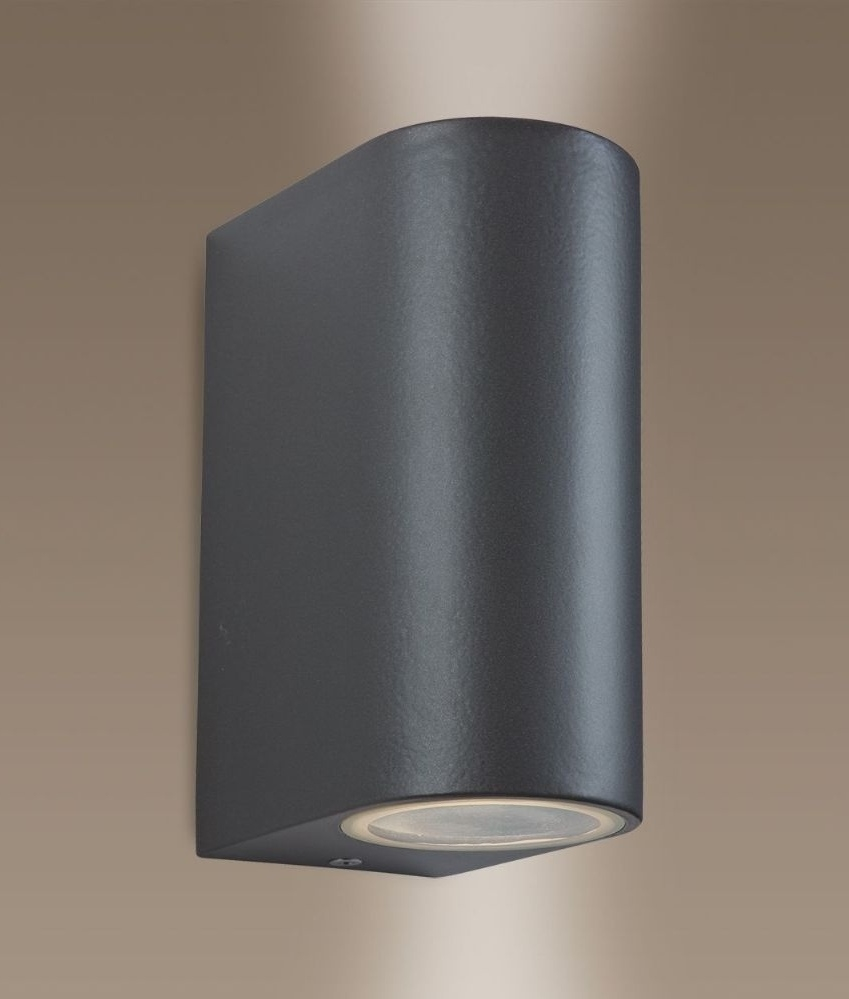 Gun metal exterior wall light either single or double lamp for Exterior up and down lights led