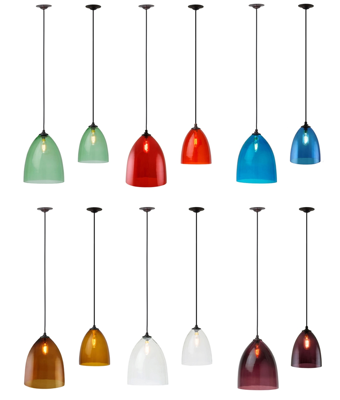 Hand Blown Glass Pendant In 2 Sizes 6 Colours