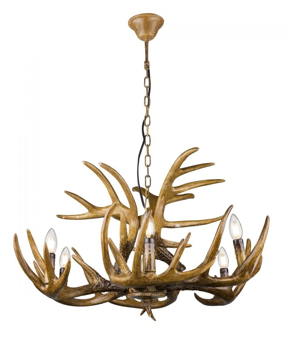 Hunting lodge antler 6 light chandelier for Lampe geweih modern
