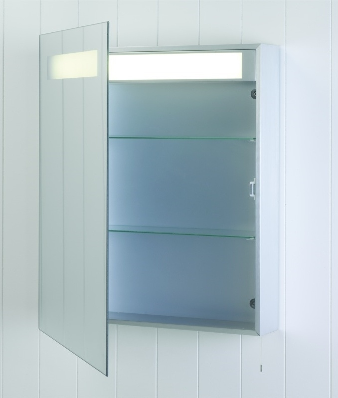 bathroom cabinet with illuminated mirror 700mm x 550mm