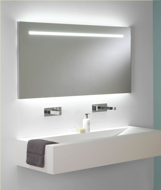 wide illuminated bathroom mirror with backlit effect for 19095