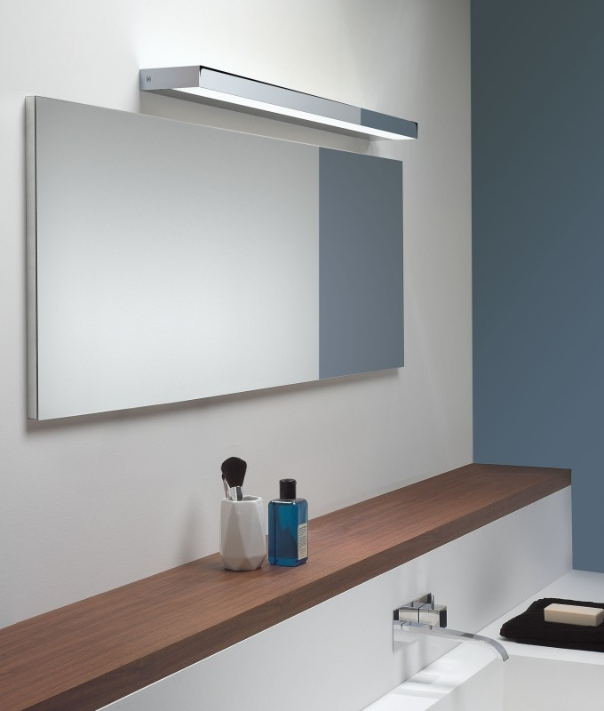 Rectangular over mirror light in matt nickel or polished for Bathroom lights above mirror
